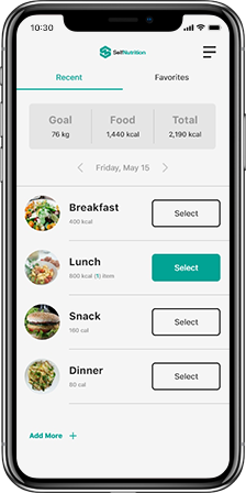 SelfNutrition Application
